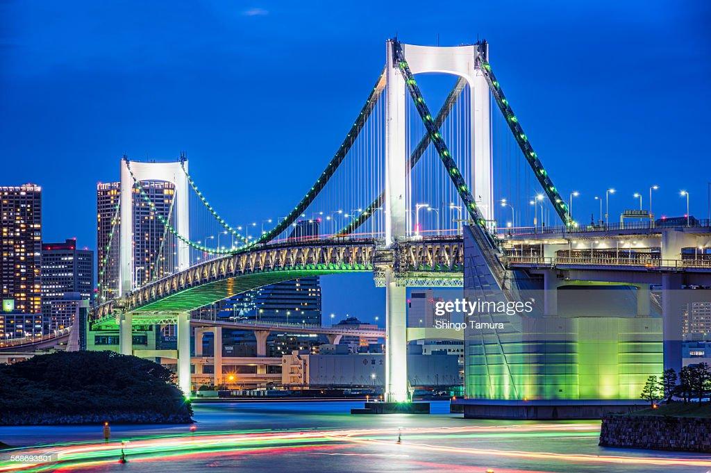 Tokyo Rainbow bridge in blue twilight : Stock Photo