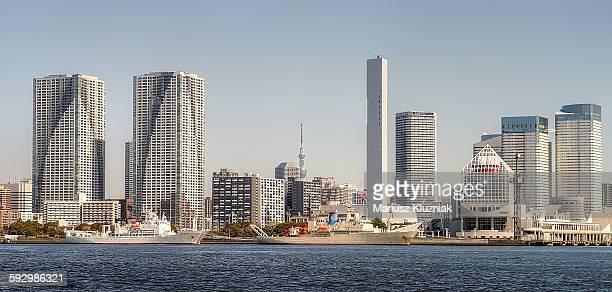 Tokyo riverside apartment blocks and Skytree