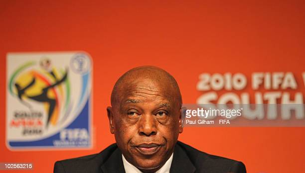 Tokyo Sexwale a memeber of FIFA's committee for fair play and social responsibility talks during the FIFA Media Briefing at Soccer City on July 1...