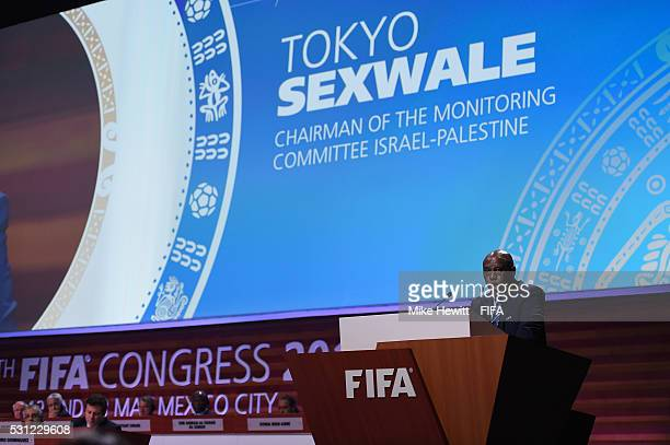 Tokyo Sexwale Chairman of the Monitoring Committee IsraelPalestine addresses the delegates during the 66th FIFA Congress at Centro Banamex on May 13...