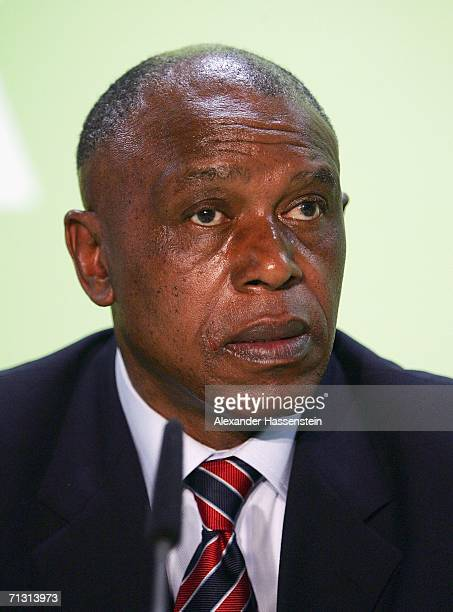 Tokyo Sexwale member of the Local Organising Committee FIFA World Cup 2010 looks on during the FIFA press conference on Racism in Football on June 28...