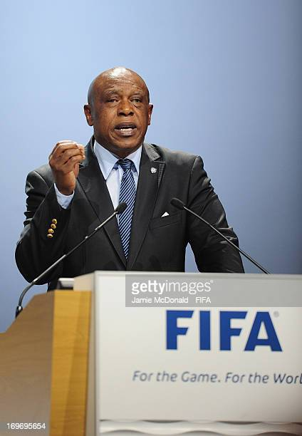 Tokyo Sexwale speaks out against racism during the 63rd FIFA Congress at the Swami Vivekananda International Convention Centre on May 31 2013 in Port...