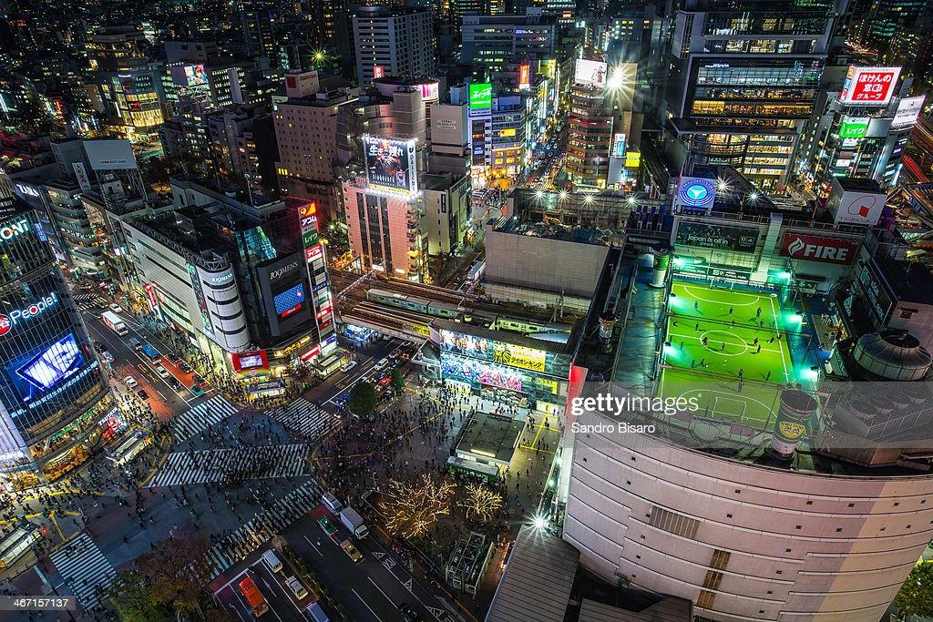 Tokyo Shibuya Crossing at night skyline : Stock Photo