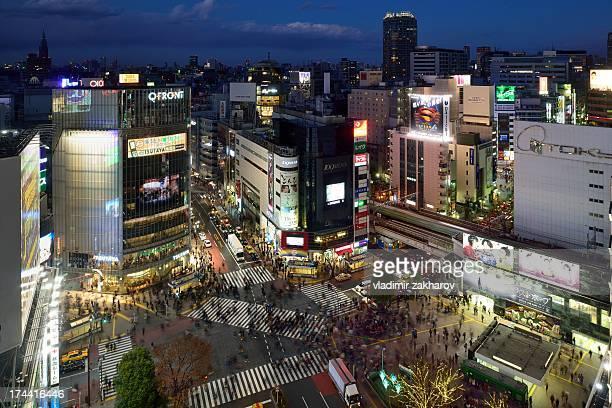 Tokyo, Shibuya crossing at sunset