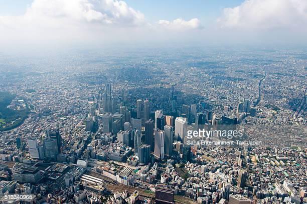 tokyo shinjuku aerial shot - 新宿区 ストックフォトと画像