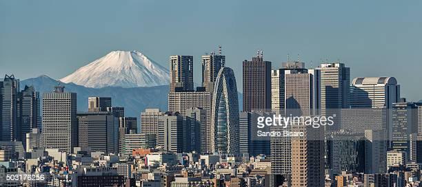 Tokyo Shinjuku Skyline with Snowy Fuji Mountain visible