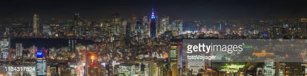 東京新宿超高層ビル街並み空中パノラマきらびやかネオンナイトジャパン - 代々木 ストックフォトと画像