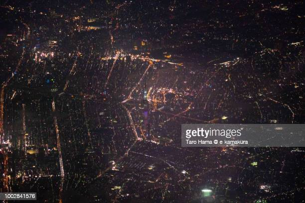 Tokyo Sky Tree and cityscape night time aerial view from airplane