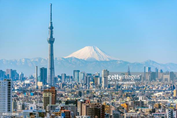 tokyo sky tree and mt fuji - tokyo japan stock pictures, royalty-free photos & images