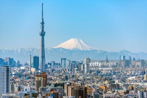 tokyo sky tree and mt fuji - tokio stock-fotos und bilder