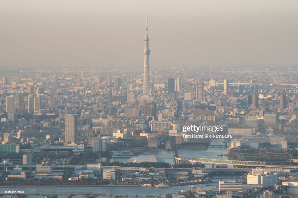 Tokyo Sky Tree and Tokyo cityscape sunset time aerial view from airplane : ストックフォト