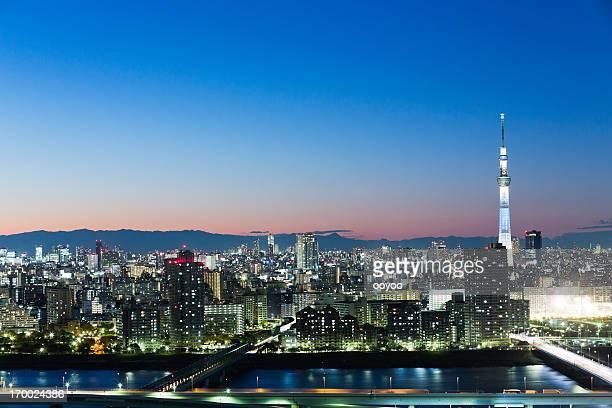 東京スカイツリーの夕暮れ