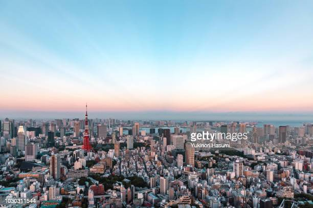 tokyo skyline at dusk - townscape stock pictures, royalty-free photos & images