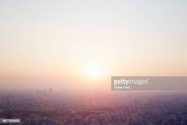 tokyo skyline at dusk - horizon over land stock photos and pictures