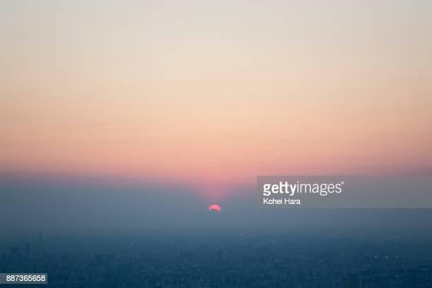 Tokyo skyline at dusk, sunset with Mt.Fuji