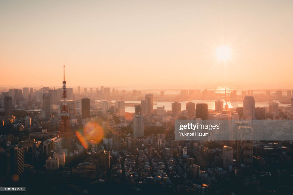 Tokyo Skyline at Early morning : Stock Photo