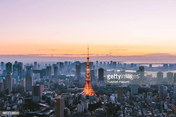 tokyo skyline at early morning - roppongi hills stock pictures, royalty-free photos & images