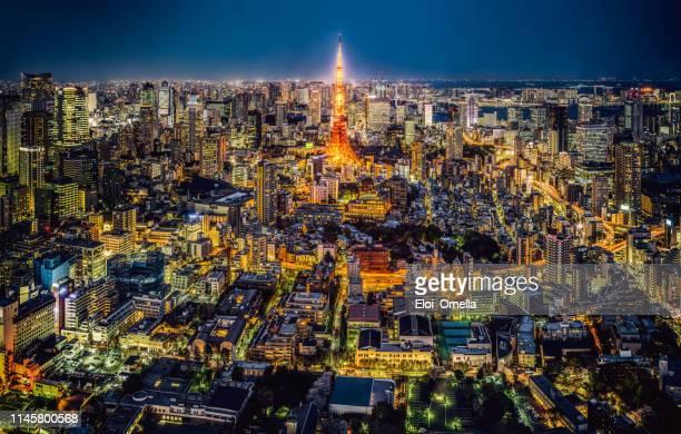 tokyo skyline at night, japan - japão imagens e fotografias de stock