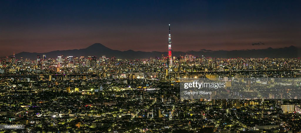 Tokyo skyline at night panorama w : Stock Photo