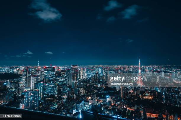 tokyo skyline at night - night stock pictures, royalty-free photos & images