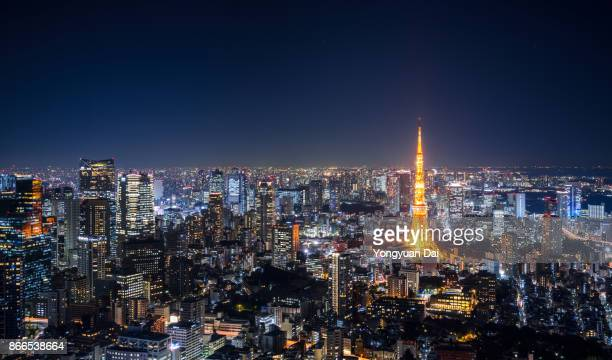 tokyo skyline at night - japan stock pictures, royalty-free photos & images