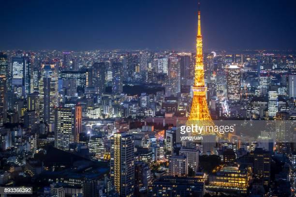 De Skyline van Tokyo bij nacht