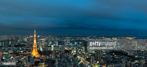 Tokyo Skyline at Night with illuminated buildings