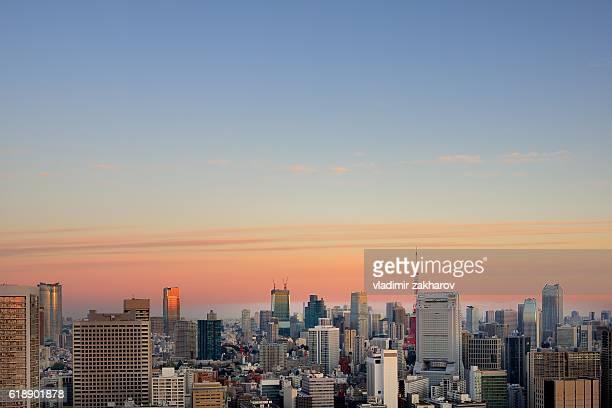 Tokyo skyline at sunrise