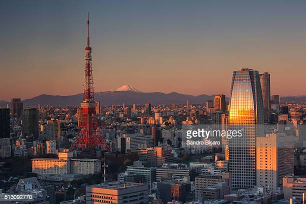 Tokyo Skyline at sunrise with Tokyo Tower and Mount Fuji
