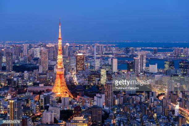 tokyo skyline at twilight - roppongi hills stock pictures, royalty-free photos & images
