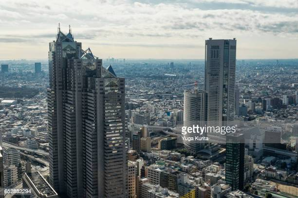 tokyo skyline from shinjuku - 東京都庁舎 ストックフォトと画像
