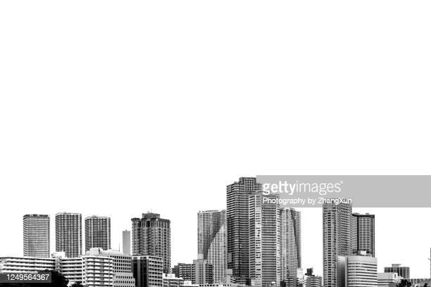 tokyo skyline of tsukishima area, chuo ward, japan. - 高層ビル ストックフォトと画像