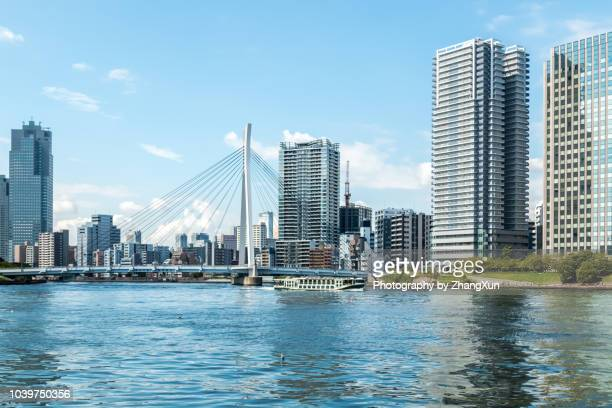 Tokyo Skyline over the Sumida River with skyscrapers and buildings and Chuo-Ohashi Bridge at day time,Japan.