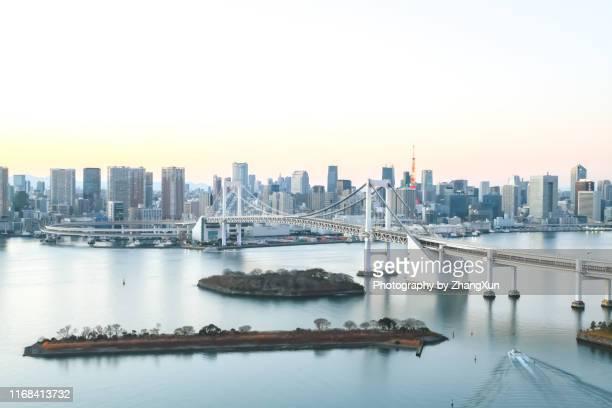 tokyo skyline over tokyo bay, japan at day time. - 湾 ストックフォトと画像
