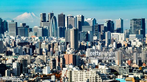 tokyo skyline - nishi shinjuku stock-fotos und bilder