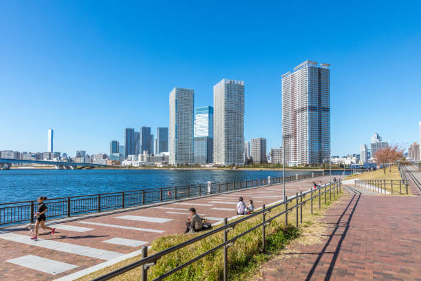 Tokyo skyline waterfront view in Toyosu area, Koto ward, Japan at day time.