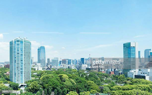 tokyo skyline with lush green park on a sunny day - lozano fotografías e imágenes de stock