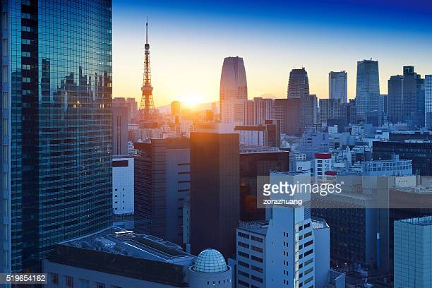 tokyo skyscraper and tokyo tower - tokyo japan stock pictures, royalty-free photos & images
