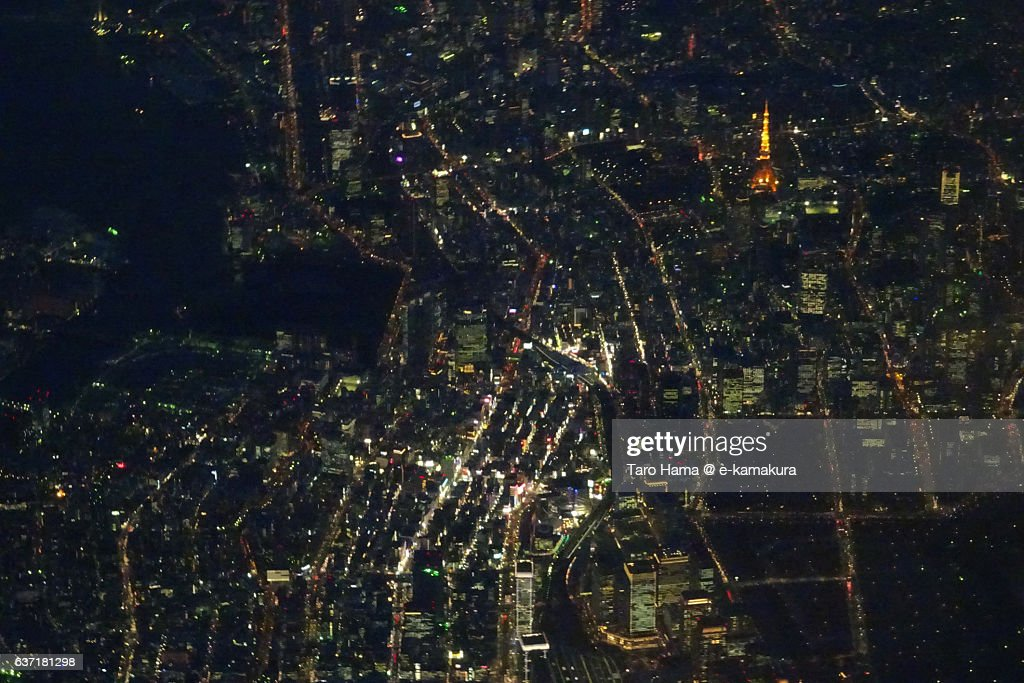 Tokyo Skyscraper Night View From Airplane Stock Photo
