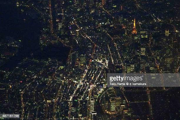 Tokyo skyscraper night view from airplane