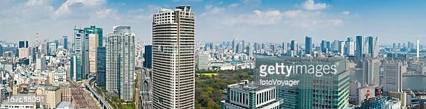 東京の超高層ビルの街並みのパノラマ銀座汐留新橋日本のダウンタウンの街並み