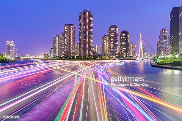 Tokyo Skyscrapers nightview with light trails