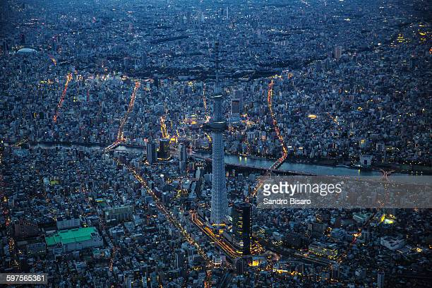 Tokyo Skytree aerial view at twilight