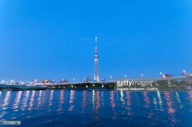 Tokyo Skytree And Sumida River Against Clear Blue Sky