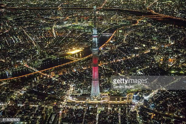 Tokyo Skytree at night aerial view