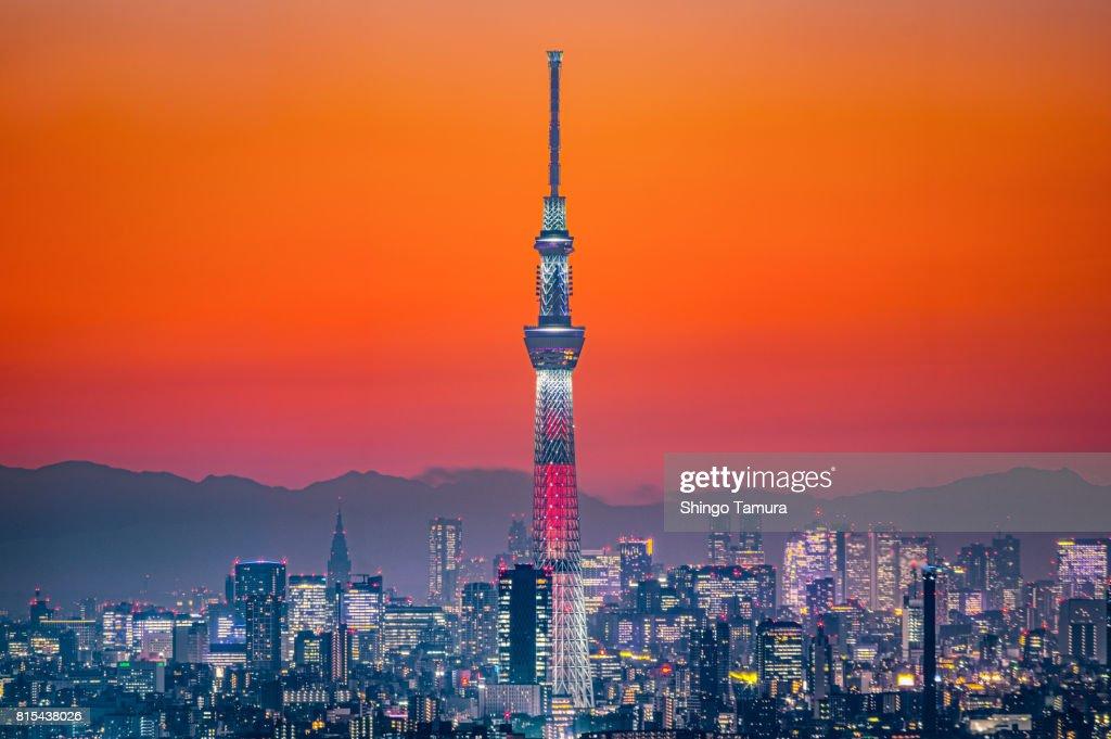 Tokyo Skytree in Orange Twilgiht Sky : Stock Photo