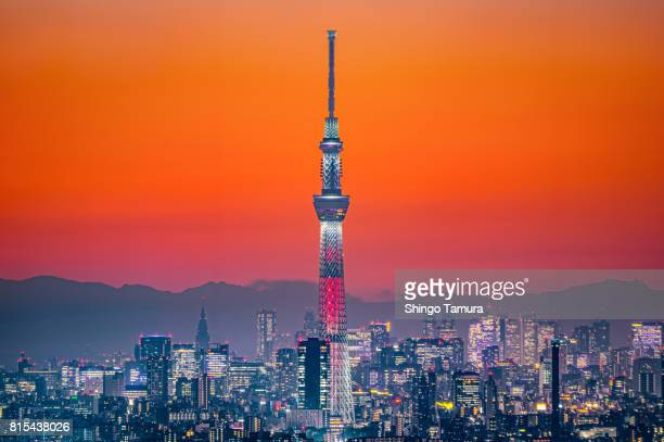 tokyo skytree in orange twilgiht sky - tokyo japan stock photos and pictures