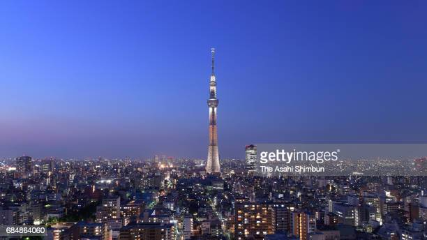 Tokyo SkyTree is illuminated in orange ahead of the fifth anniversary of its opening on May 18 2017 in Tokyo Japan