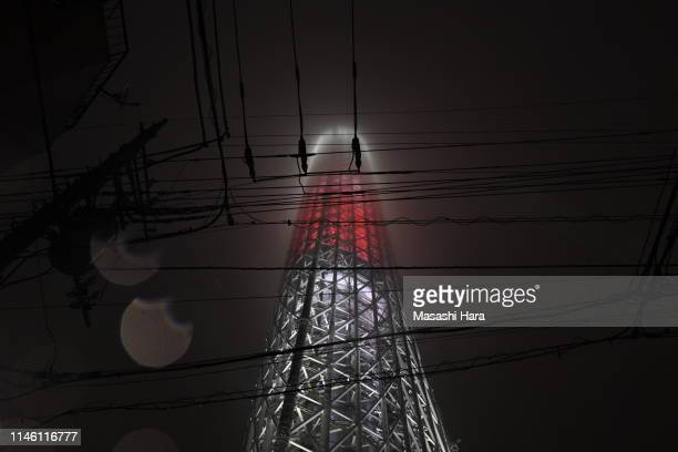 Tokyo SkyTree is illuminated to celebrate new era 'Reiwa' on May 01 2019 in Tokyo Japan Japan's 85yearold Emperor Akihito became the first Japanese...