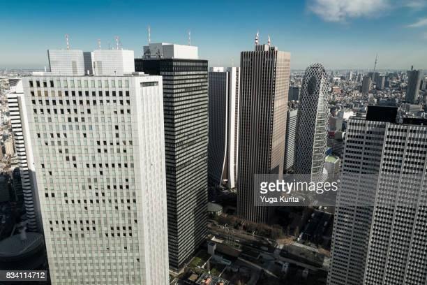 Tokyo Skytree over the Shinjuku Skyscrapers